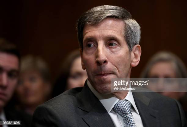 Federal Trade Commission Chairman Joseph Simons testifies before the Senate Appropriations Committee May 17 2018 in Washington DC The committee heard...