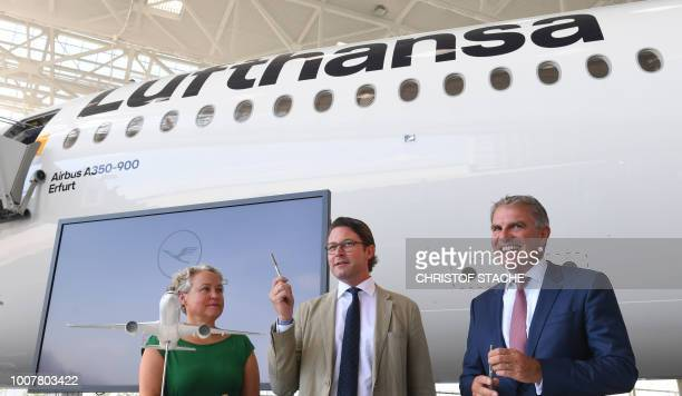 Federal Transport Minister Andreas Scheuer Erfurt's second mayor Kathrin Hoyer and the CEO of the CEO of German airline Lufthansa Carsten Spohr...