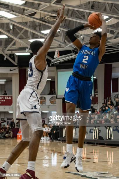 Federal Way Eagles forward Jaden McDaniels shoots the ball during the first half of the high school basketball game between the Ranney Panthers and...