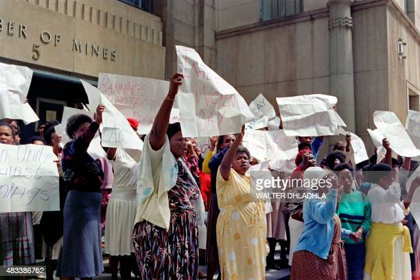 Federated of Transvaal Women protesting in front of Chamber of Mines headquarters in central Johannesburg on March 08 demanding the urbanning of 17...