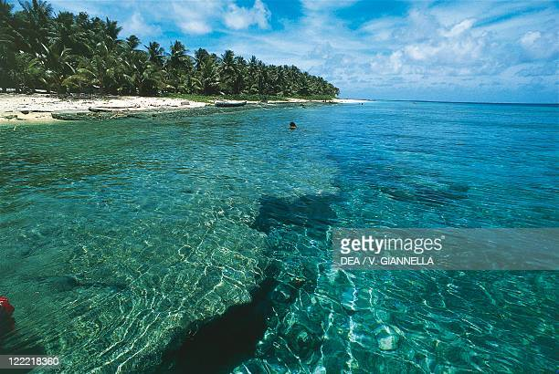 Federated States of Micronesia Yap Islands Ulithi Atoll Coral reef seen through crystal clear waters