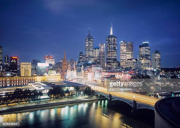 Federation Square and Melbourne skyline at dusk