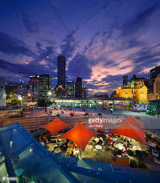 federation square and skyline. - federation square stock pictures, royalty-free photos & images
