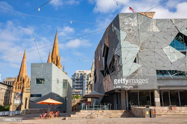 Federation Square and St Pauls Cathedral in Melbourne city centre.