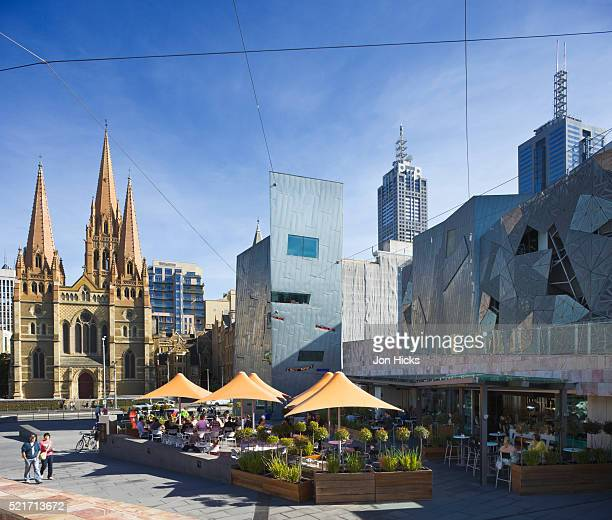 Federation Square and St. Paul's Cathedral in Melbourne