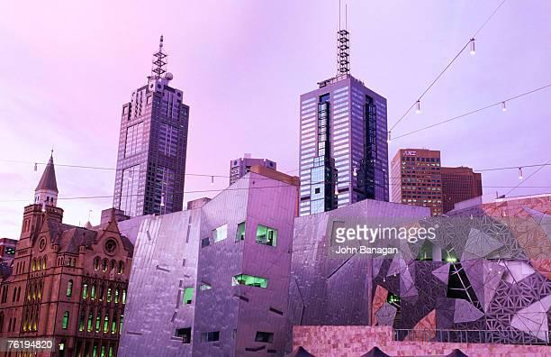 Federation Square at dusk, Melbourne, Victoria, Australia, Australasia