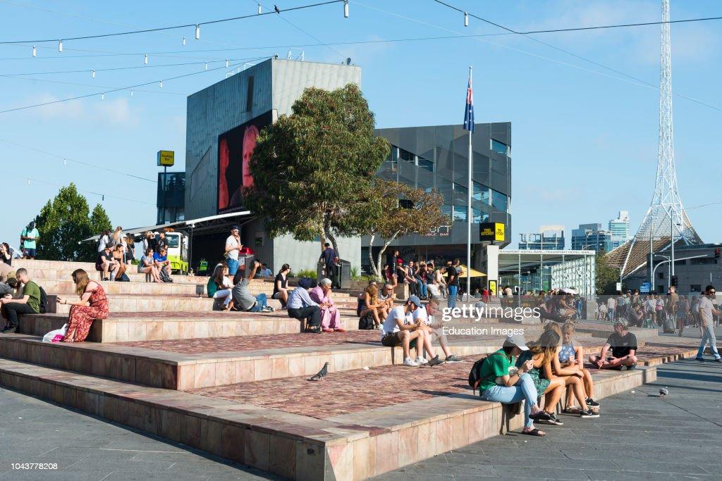 Federation Square in central Melbourne, Victoria, Australia : News Photo