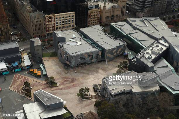 Federation Square is seen on August 26, 2020 in Melbourne, Australia. Melbourne is in stage four lockdown for six weeks until September 13 after...