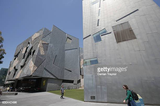 Federation Square is seen on December 23 2016 in Melbourne Australia Seven people have been arrested and a further five are in custody following...