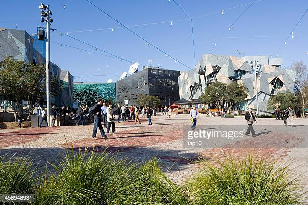 federation square - federation square stock pictures, royalty-free photos & images