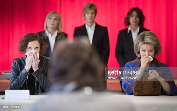 Federation Wallonia Brussels Minister of Education and School Buildings MarieMartine Schyns and Queen Mathilde of Belgium pictured during a royal...