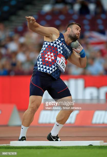 Federic Dagee of France competes in the Men's Shot Put during day one of the Athletics World Cup London at the London Stadium on July 14, 2018 in...