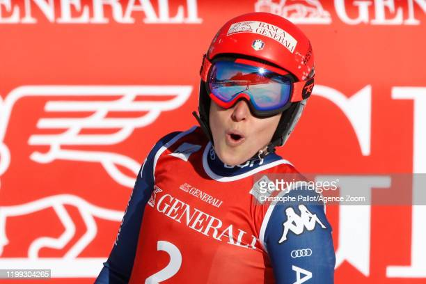 Federica Brignone of Italy celebrates during the Audi FIS Alpine Ski World Cup Women's Downhill on February 8, 2020 in Garmisch Partenkirchen,...