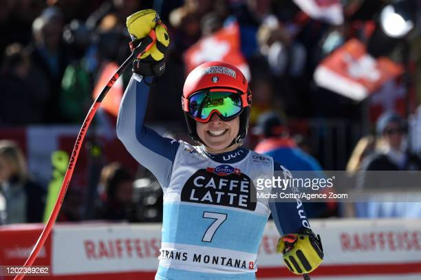 Federica Brignone of Italy celebrates during the Audi FIS Alpine Ski World Cup Women's Downhill on February 22, 2020 in Crans Montana Switzerland.