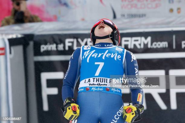 Federica Brignone of Italy celebrates during the Audi FIS Alpine Ski World Cup Women's Super G on February 29, 2020 in La Thuile Italy.