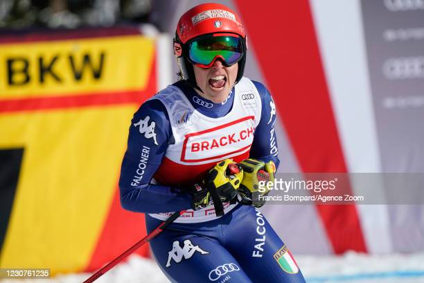 Federica Brignone of Italy celebrates during the Audi FIS Alpine Ski World Cup Women's Super G on January 24, 2021 in Crans Montana Switzerland.