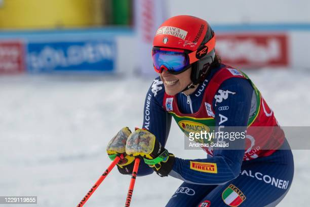 Federica Brignone of Italy celebrates in the finish area during the Women's Giant Slalom of the Audi FIS Alpine Ski World Cup on October 17, 2020 in...