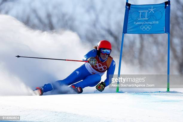 Federica Brignone of Italy competes during the Alpine Skiing Women's Giant Slalom at Yongpyong Alpine Centre on February 15 2018 in Pyeongchanggun...