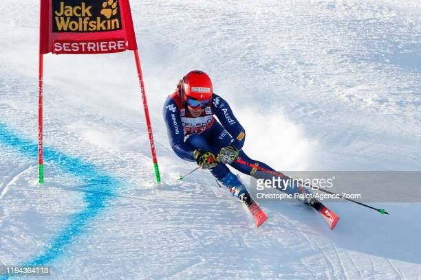Federica Brignone of Italy competes during the Audi FIS Alpine Ski World Cup Women's Giant Slalom on January 18, 2020 in Sestriere Italy.