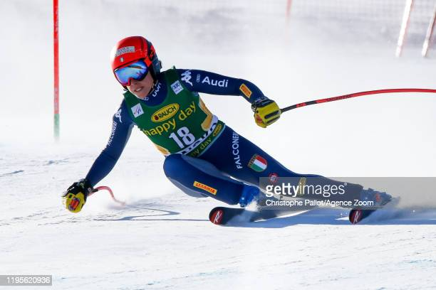 Federica Brignone of Italy competes during the Audi FIS Alpine Ski World Cup Women's Downhill on January 24, 2020 in Bansko Bulgaria.