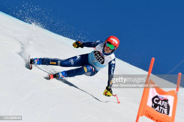Federica Brignone of Italy competes during the Audi FIS Alpine Ski World Cup Women's Downhill on February 22, 2020 in Crans Montana Switzerland.