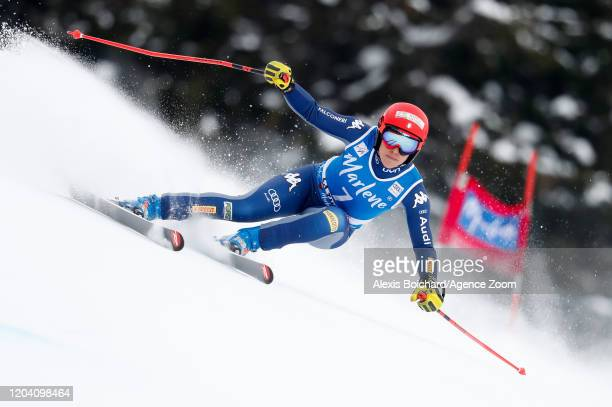 Federica Brignone of Italy competes during the Audi FIS Alpine Ski World Cup Women's Super G on February 29, 2020 in La Thuile Italy.