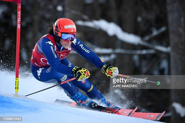 Federica Brignone of Italy competes during the Audi FIS Women Alpine Skiing World Cup Giant Slalom race in Kranjska Gora, on January 16, 2021.