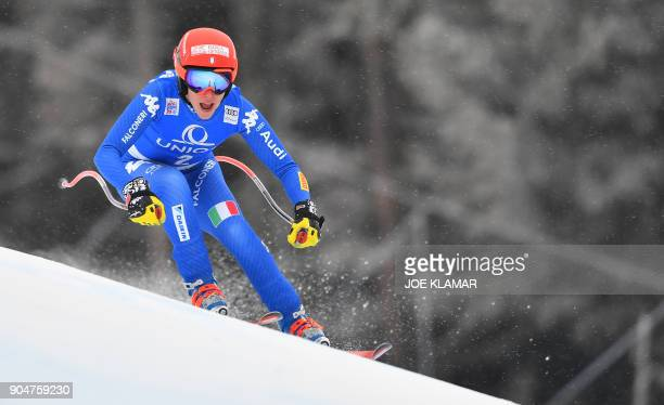 Federica Brignone of Italy competes during the FIS Alpine World Cup Women downhill competition in Bad Kleinkirchheim Austria on January 14 2018 / AFP...