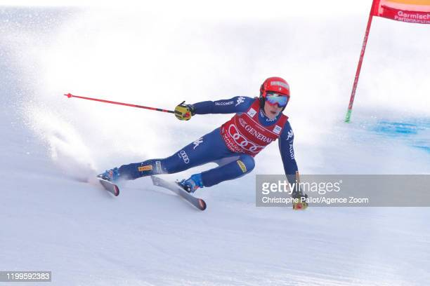 Federica Brignone of Italy in action during the Audi FIS Alpine Ski World Cup Women's Super G on February 9, 2020 in Garmisch Partenkirchen, Germany.