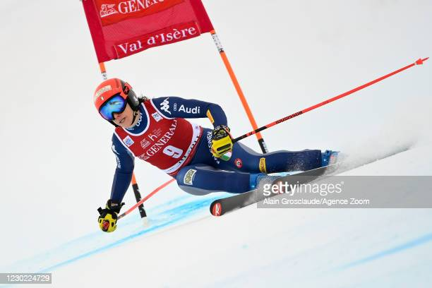 Federica Brignone of Italy in action during the Audi FIS Alpine Ski World Cup Women's Super Giant Slalom on December 20, 2020 in Val d'Isere France.