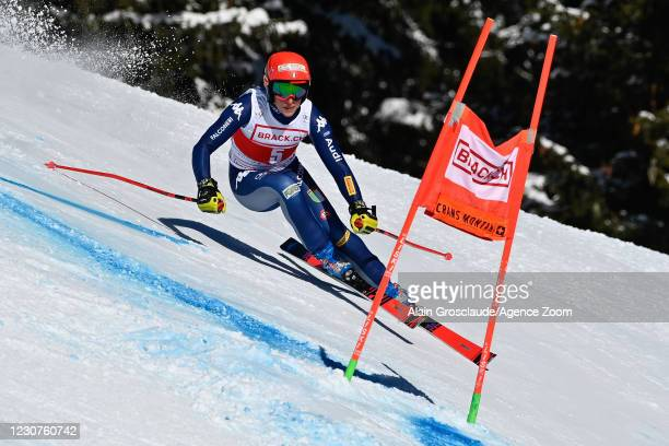 Federica Brignone of Italy in action during the Audi FIS Alpine Ski World Cup Women's Super G on January 24, 2021 in Crans Montana Switzerland.