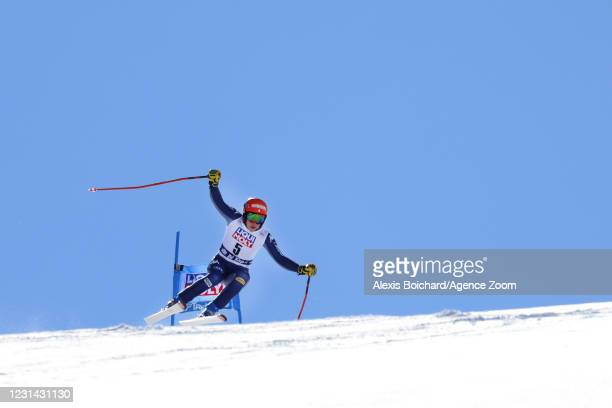 Federica Brignone of Italy in action during the Audi FIS Alpine Ski World Cup Women's Super Giant Slalom on February 28, 2021 in Val di Fassa, Italy.