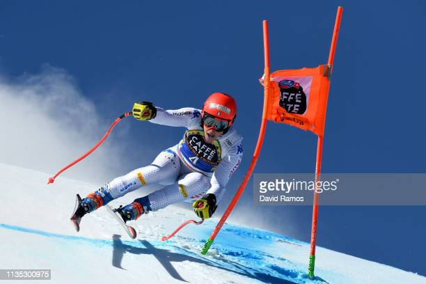 Federica Brignone of Italy in action during Women's Downhill training on day two of the 2019 Alpine Skiing World Cup Finals on March 12 2019 in...