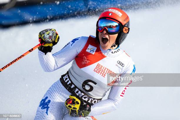 Federica Brignone of Italy reacts in the finish area after taking the lead after the second run of the giant slalom at the Audi FIS Ski World Cup -...