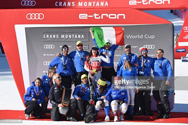 Federica Brignone of Italy takes 1st place during the Audi FIS Alpine Ski World Cup Women's Alpine Combined on February 24 2019 in Crans Montana...