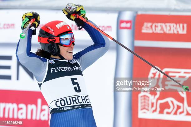 Federica Brignone of Italy takes 1st place during the Audi FIS Alpine Ski World Cup Women's Giant Slalom on December 17, 2019 in Courchevel, France.