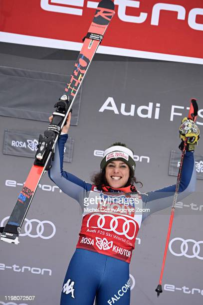 Federica Brignone of Italy takes 1st place during the Audi FIS Alpine Ski World Cup Women's Super G on February 2, 2020 in Sochi Russia.