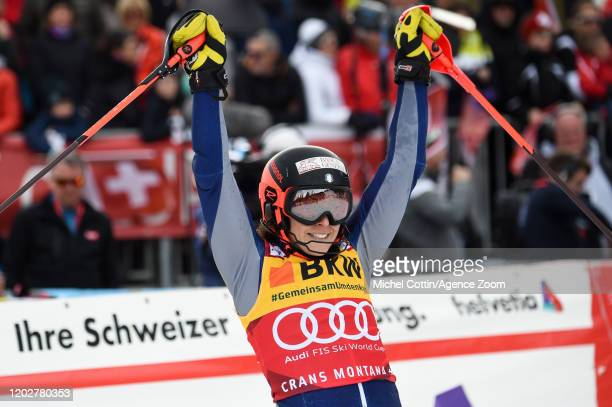 Federica Brignone of Italy takes 1st place during the Audi FIS Alpine Ski World Cup Women's Alpine Combined on February 23, 2020 in Crans Montana...