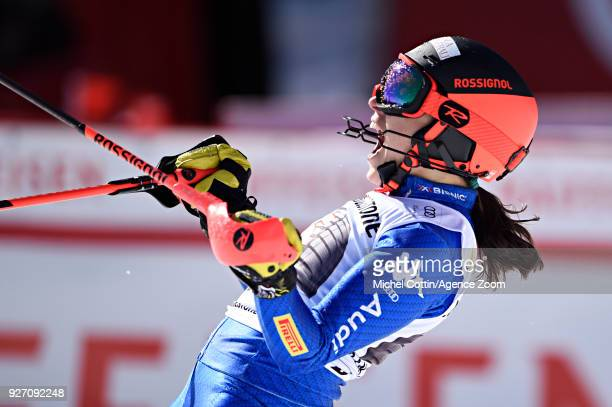 Federica Brignone of Italy takes 1st place during the Audi FIS Alpine Ski World Cup Women's Combined on March 4, 2018 in Crans-Montana, Switzerland.