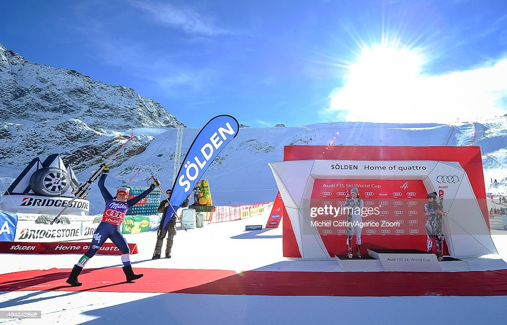 Federica Brignone of Italy takes 1st place, Mikaela Shiffrin of the USA takes 2nd place, Tina Weirather of Liechtenstein takes 3rd place during the Audi FIS Alpine Ski World Cup Women's Giant Slalom on October 24, 2015 in Soelden, Austria.