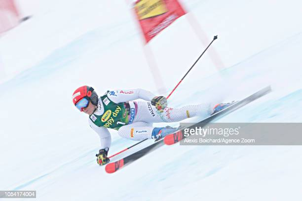 Federica Brignone of Italy takes 2nd place during the Audi FIS Alpine Ski World Cup Women's Giant Slalom on October 27 2018 in Soelden Austria