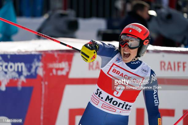 Federica Brignone of Italy takes 2nd place during the Audi FIS Alpine Ski World Cup Women's Super G on December 14 2019 in St Moritz Switzerland