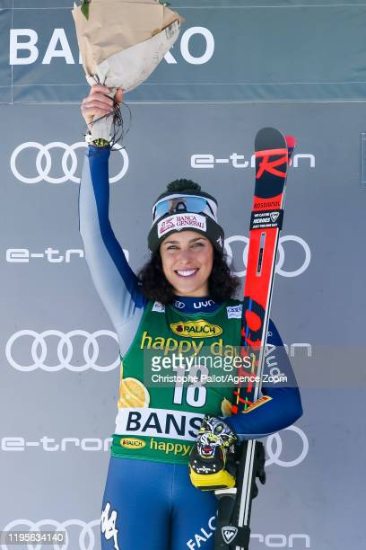 Federica Brignone of Italy takes 2nd place during the Audi FIS Alpine Ski World Cup Women's Downhill on January 24 2020 in Bansko Bulgaria