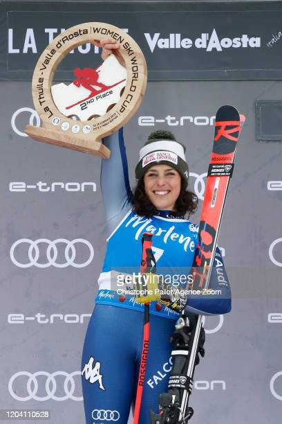 Federica Brignone of Italy takes 2nd place during the Audi FIS Alpine Ski World Cup Women's Super G on February 29, 2020 in La Thuile Italy.