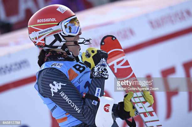 Federica Brignone of Italy takes 2nd place during the Audi FIS Alpine Ski World Cup Women's Alpine Combined on February 24 2017 in Crans Montana...