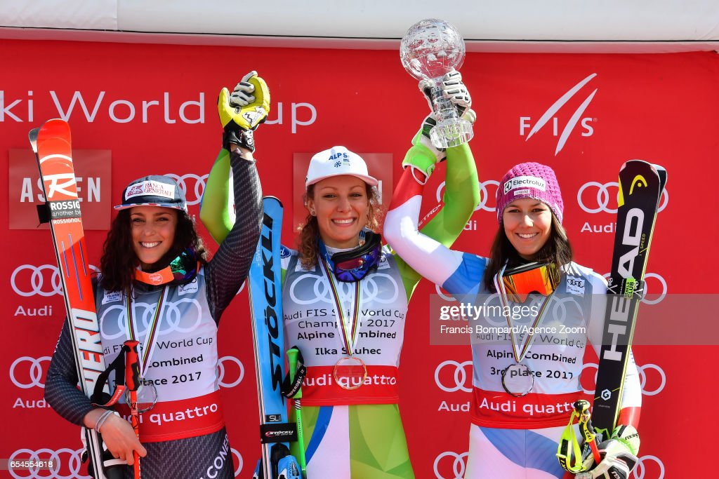 Federica Brignone of Italy takes 2nd place in the overall standings, Ilka Stuhec of Slovenia wins the globe in the overall standings, Wendy Holdener of Switzerland takes 3rd place in the overall standings during the Audi FIS Alpine Ski World Cup Finals Women's Alpine Combined on March 17, 2017 in Aspen, Colorado