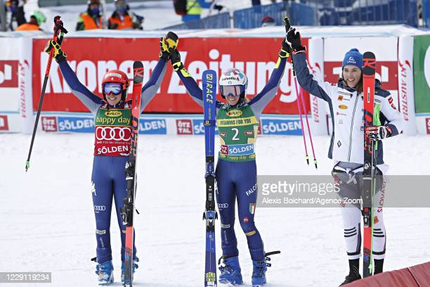 Federica Brignone of Italy takes 2nd place, Marta Bassino of Italy takes 1st place, Petra Vlhova of Slovakia takes 3rd place during the Audi FIS...