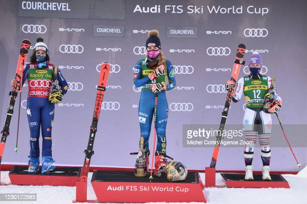 Federica Brignone of Italy takes 2nd place, Mikaela Shiffrin of USA takes 1st place, Tessa Worley of France takes 3rd place during the Audi FIS...