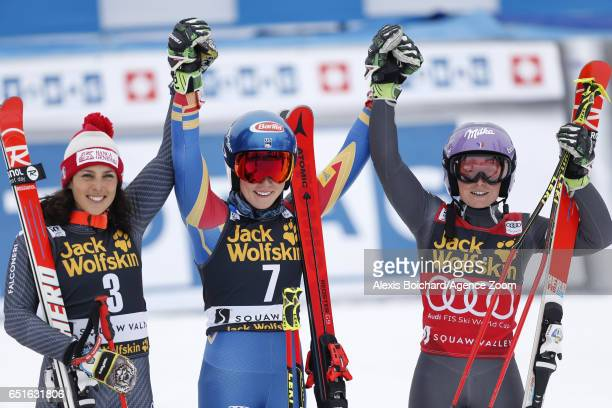 Federica Brignone of Italy takes 2nd place Mikaela Shiffrin of USA takes 2nd place Tessa Worley of France takes 3rd place during the Audi FIS Alpine...