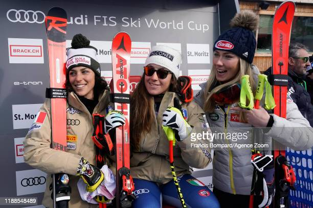 Federica Brignone of Italy takes 2nd place, Sofia Goggia of Italy takes 1st place, Mikaela Shiffrin of USA takes 3rd place during the Audi FIS Alpine...